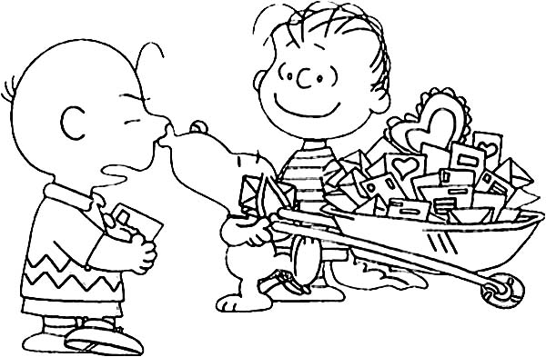 Charlie Brown, : Charlie Brown Pet Snoopy Got a Lot of Mail Coloring Page