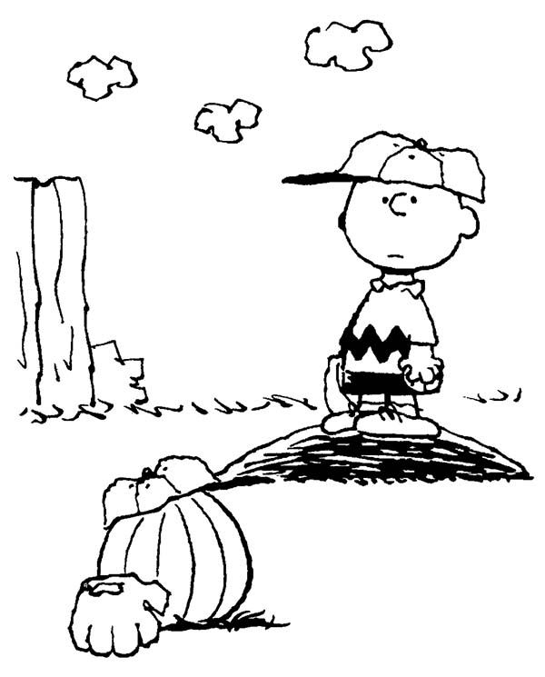 Charlie Brown, : Charlie Brown Play Baseball with Pumpkin Coloring Page