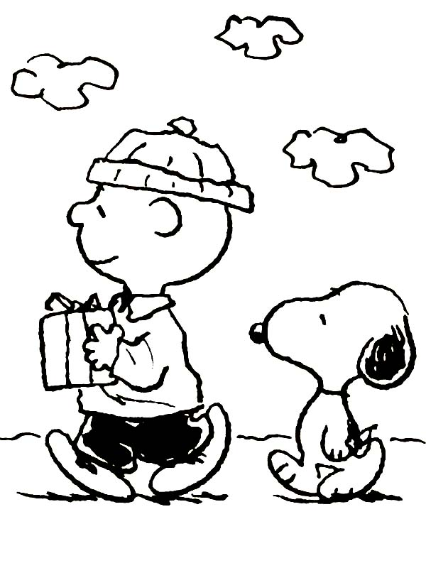 Charlie Brown, : Charlie Brown and Snoopy Bring Christmas Present Coloring Page