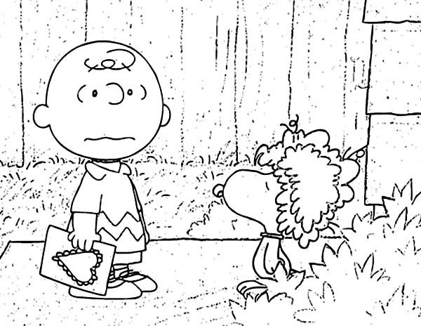 Charlie Brown, : Charlie Browns Pet Snoopy Wearing Wig Coloring Page
