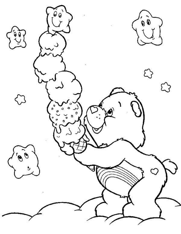 Care Bear, : Cheer Bear Eat Awesome Ice Cream in Care Bear Coloring Page