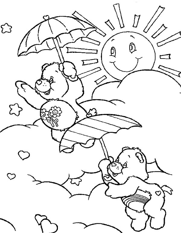 Care Bear, : Cheer Bear Fly Using an Umbrella in Care Bear Coloring Page