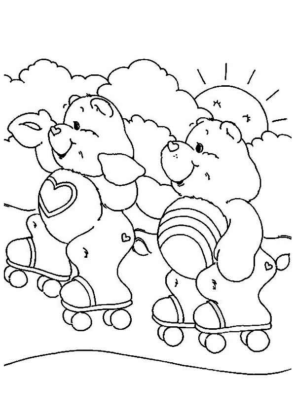 Care Bear, : Cheer Bear and Tenderheart Bear Rollerstaking in Care Bear Coloring Page