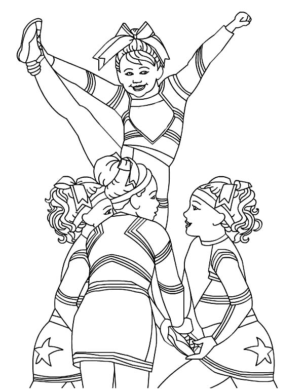 Dance, : Cheerleader Dance Coloring Page