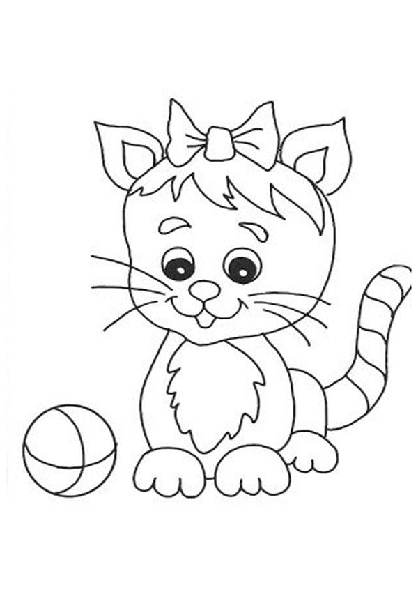Cat, : Chibi Cat Playing with Ball Coloring Page