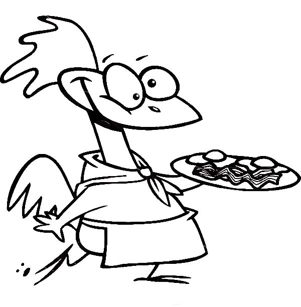 Breakfast, : Chicken Chef Carrying Plate with Egg and Bacon for Breakfast Coloring Page