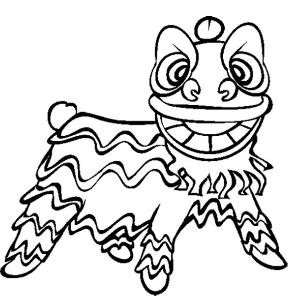 Dance, : Chinese New Year Lion Dance Coloring Page