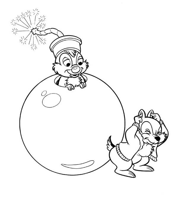 Chip and Dale, : Chip Tricked by Dale in Chip and Dale Coloring Page