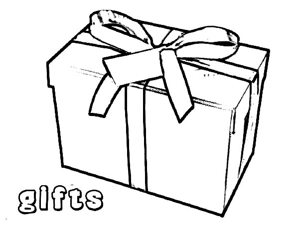 Box, : Christmas Gift Box Coloring Page