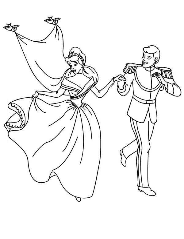 Wedding, : Cinderella and Prince Wedding Coloring Page