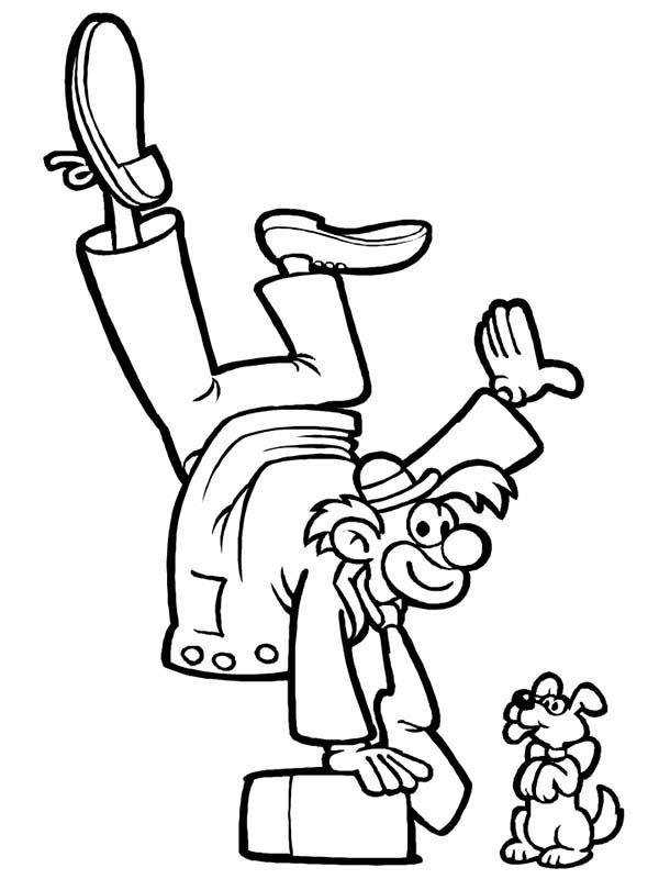 Circus, : Circus Clown Standing with One Hand Coloring Page