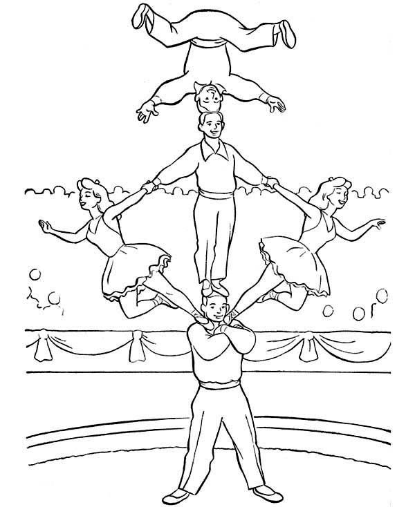 Circus, : Circus Coloring Page for Kids