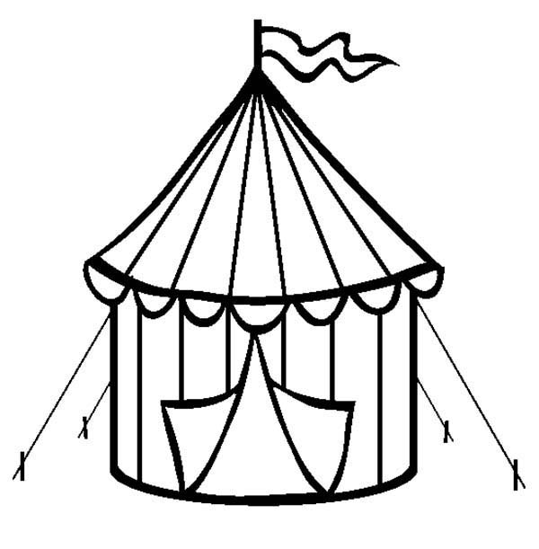 Circus, : Circus Tent Coloring Page