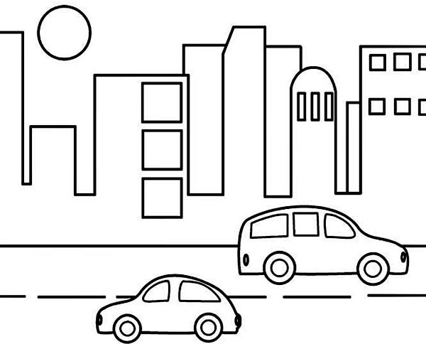 City, : City Activity at Noon Coloring Page