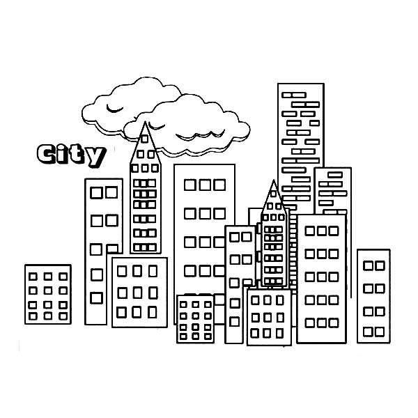 City, : City Building Coloring Page