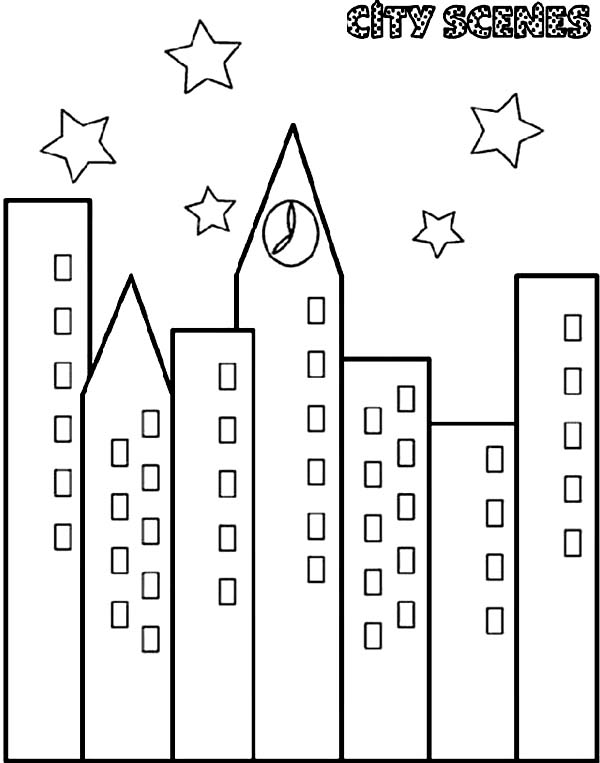 City, : City Scenes at Night Coloring Page
