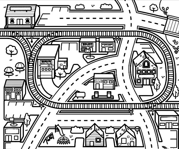 City, : City Scenes from Airplane Coloring Page