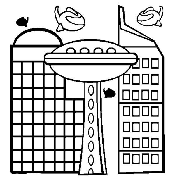 City, : City World of Tomorrow Coloring Page