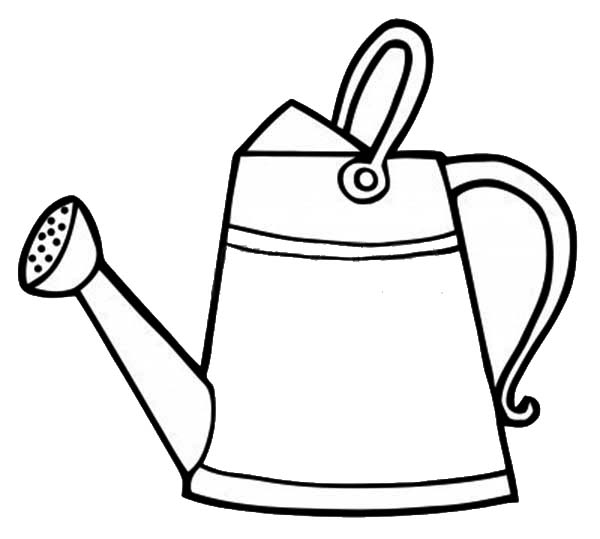 Watering Can, : Classic Watering Can Coloring Page
