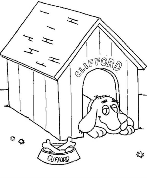 Clifford the Big Red Dog, : Clifford the Big Red Dog Lazing in His House Coloring Page