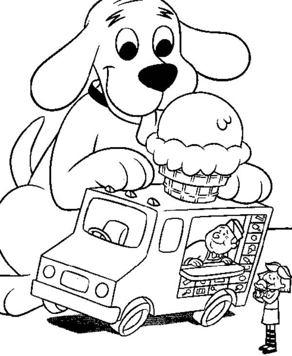 Clifford the Big Red Dog, : Clifford the Big Red Dog Like Ice Crean on Top of Car Coloring Page