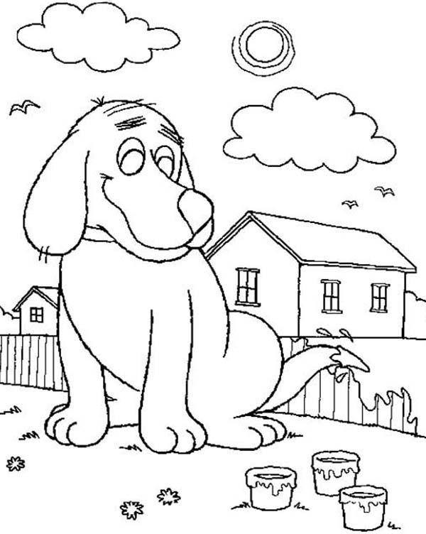 Clifford the Big Red Dog, : Clifford the Big Red Dog Paint Fence with His Tail Coloring Page