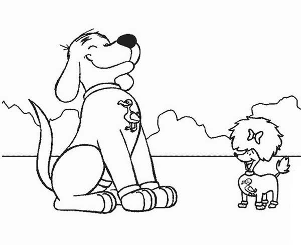 Clifford the Big Red Dog, : Clifford the Big Red Dog is Happy Meet His Friend Coloring Page
