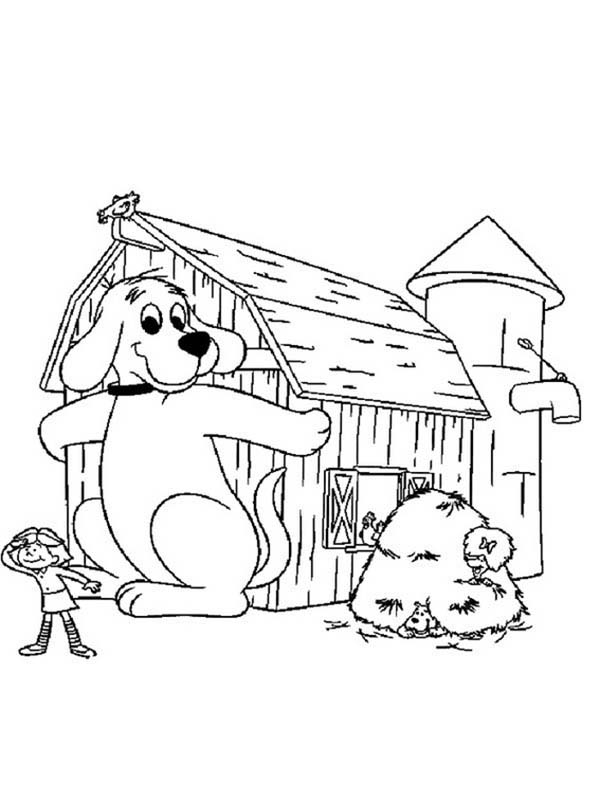 Clifford the Big Red Dog, : Clifford the Big Red Dog is Hiding from Emily Coloring Page