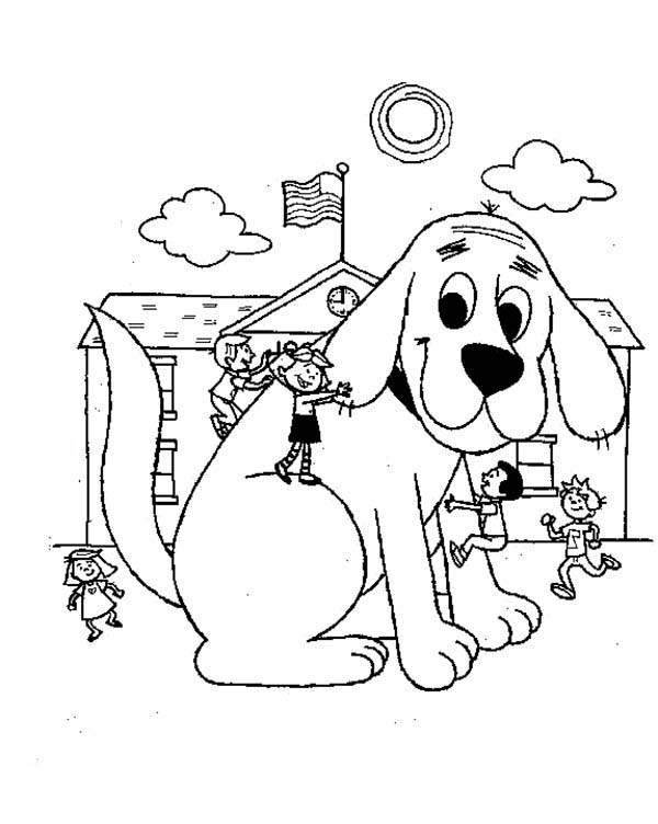 Clifford the Big Red Dog, : Clifford the Big Red Dog is in Emilys School Coloring Page