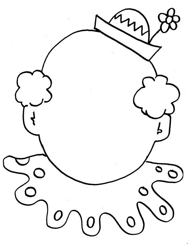 Face, : Clown Empty Face Coloring Page