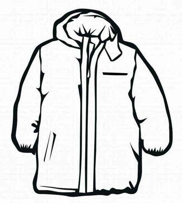Winter Clothing, : Coat Winter Clothing Coloring Page