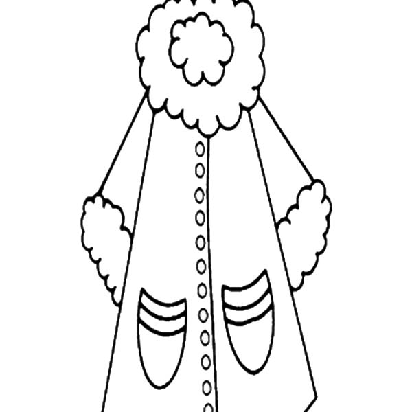 Winter Clothing, : Coat for Women in Winter Clothing Coloring Page