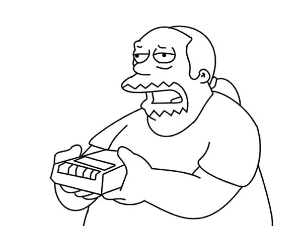 The Simpsons, : Comic Book Guy from the Simpsons Coloring Page