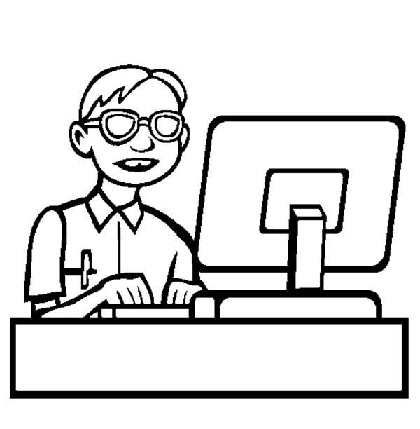 Computer, : Computer Programmer Coloring Page