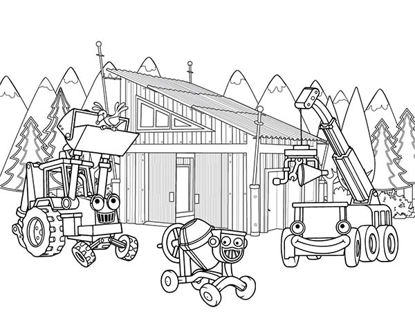 Construction, : Construction Equipment Coloring Page