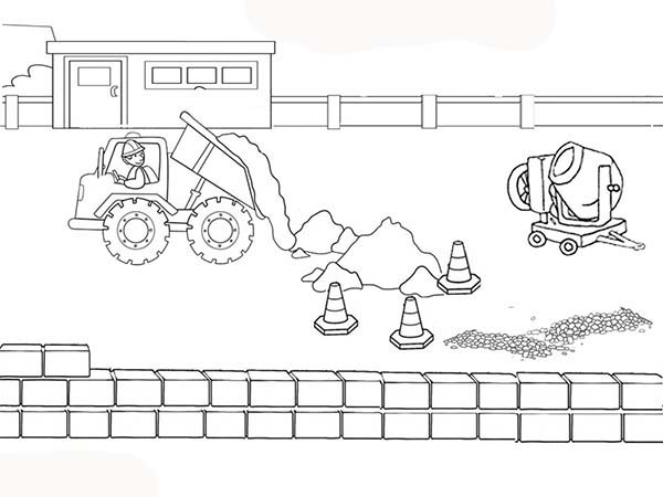Construction, : Construction Truck Pouring Dirt at Road Coloring Page