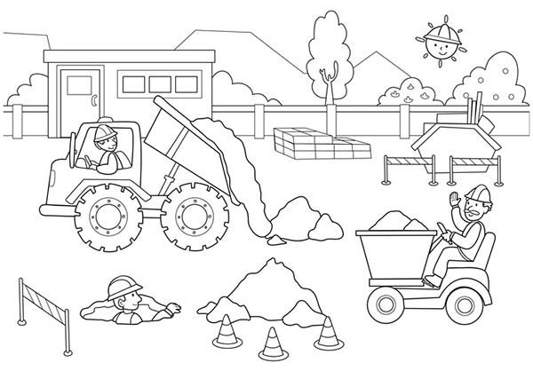 Construction Worker Activity Coloring Page Coloring Sun