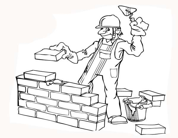Construction, : Construction Worker Build a Wall Coloring Page