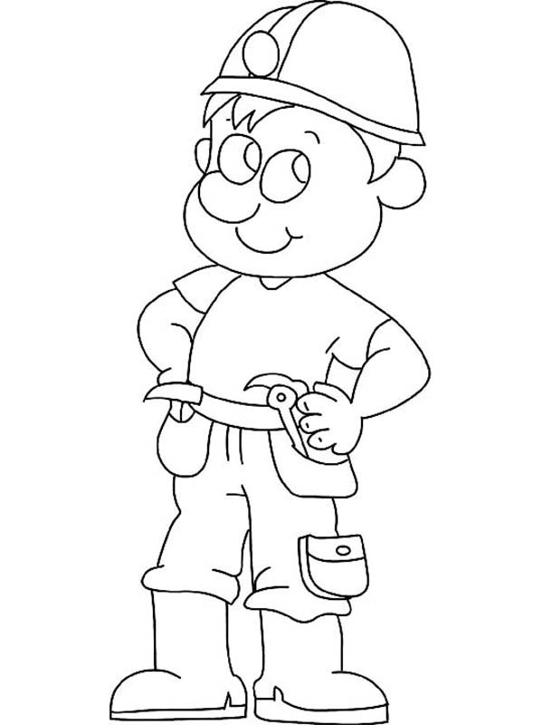 Construction, : Construction Worker Coloring Page for Kids