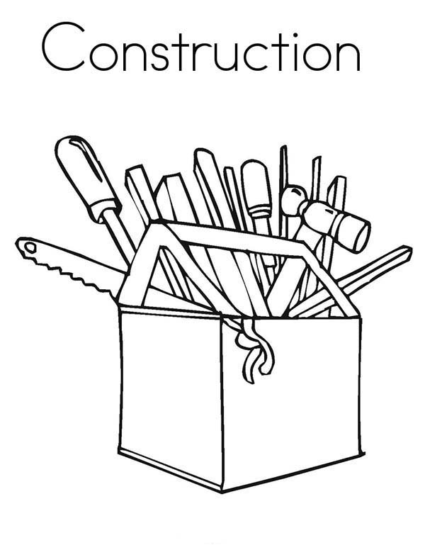 Construction, : Construction Worker Equipment Coloring Page