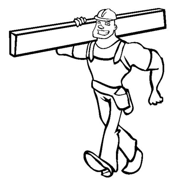 Construction, : Construction Worker Lift Up Iron Beams Coloring Page