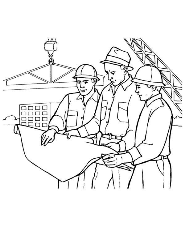 Construction, : Construction Worker Looking at Building Picture Coloring Page
