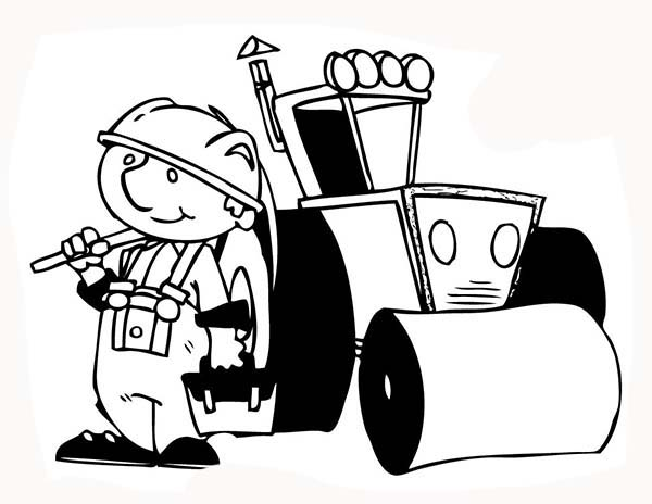 Construction, : Construction Worker Tractor Operator Coloring Page