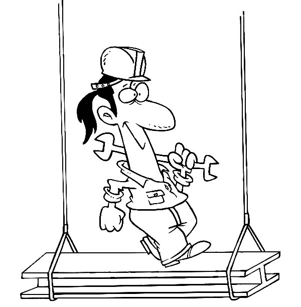 Construction, : Construction Worker Walking on Steel Coloring Page