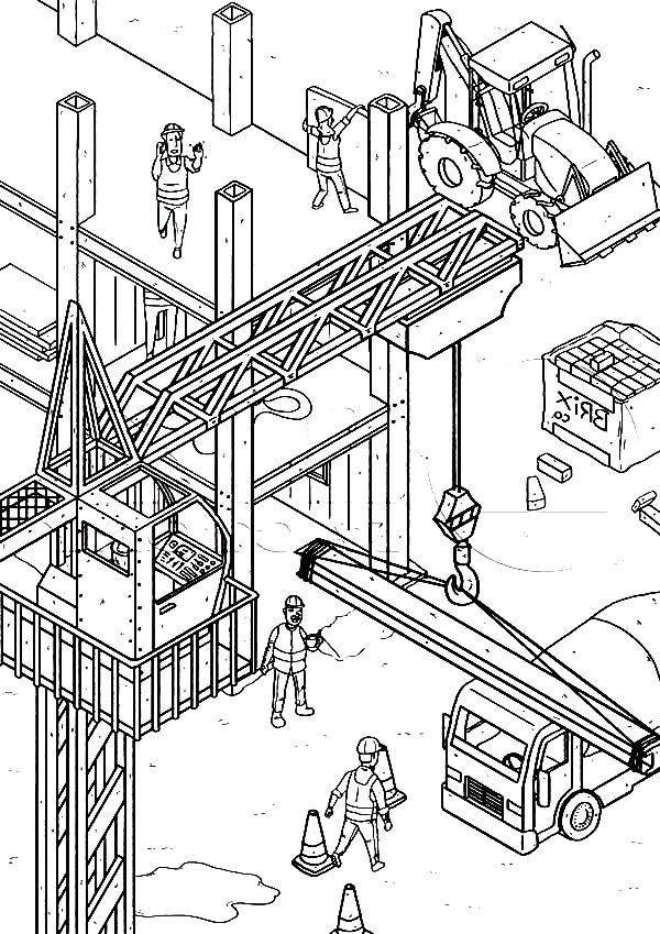 Construction, : Construction Yard Coloring Page