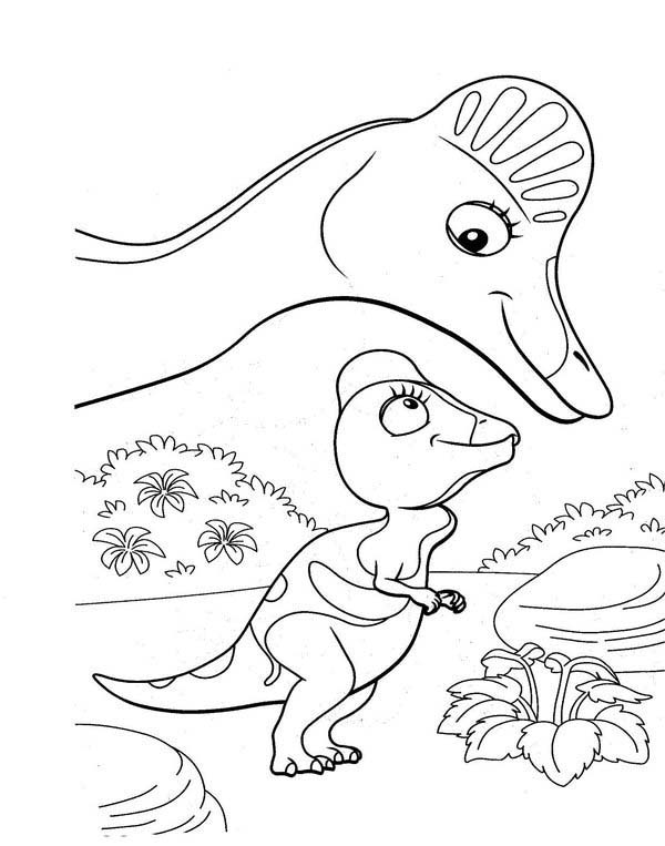 Dinosaurus Train, : Cory the Corythosaurus and Her Mother in Dinosaurus Train Coloring Page