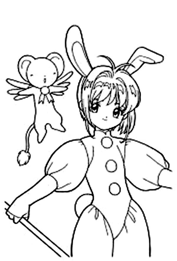 Cardcaptor Sakura, : Couple Sakura and Keroberos from Cardcaptor Sakura Coloring Page