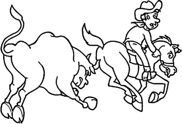 Cowboy, : Cowboy Chased by Bull Coloring Page