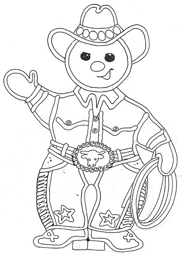 Gingerbread Men, : Cowboy Gingerbread Men Coloring Page