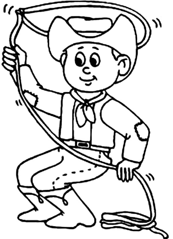 Cowboy, : Cowboy Practising with Lasso Coloring Page